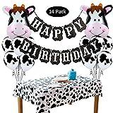 Amycute 13 Stücke Geburtstag Party Dekoration Happy Birthday Girlande Cow Luftballons Tier...