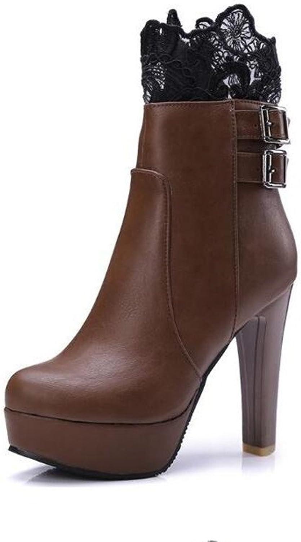 ZQ@QX Herbst und Winter runden Kopf dick mit ultra-hoher mit apartem Spitzen Gürtelschnalle Stiefel eine grosse Anzahl von weiblichen Stiefel