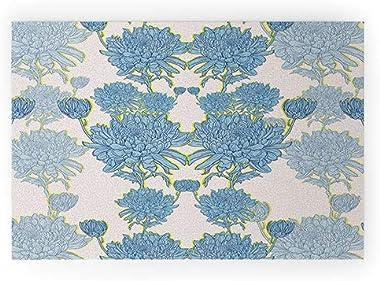 "Society6 72701-wcmatl Sewzinski Chysanthemum in Blue Welcome Mat, 36"" x 24"""