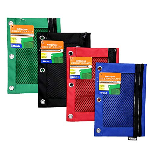 BAZIC 3-Ring Pencil Pouch with Mesh Window for School, Home, or Office Supplies (Assorted Colors. Case of 24)