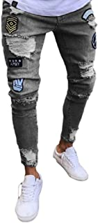 Winwinus Womens Tenths Pants Bodycon Ripped Hole Zip up Hip-Hop Denim Jeans