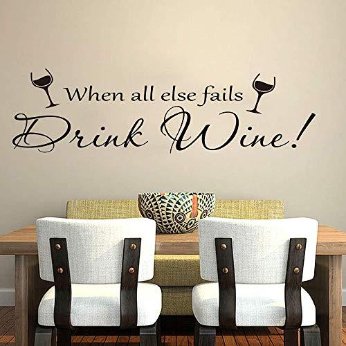 Wanneer alle andere mislukt drinken wijn citaat muur sticker keuken pub bar wijn citaat dineren kamer 56x16Cm