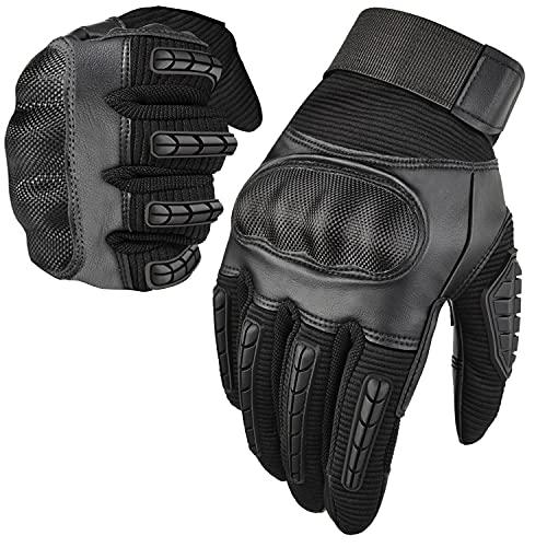 BTNEEU Guantes de Moto para Hombre, Guantes de Moto Transpirables con Pantalla Táctil, Guantes Antideslizantes con Protección Dedo Completo para Bicicleta MTB Escalada Motocross (Negro, L)