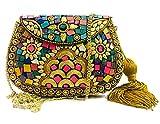 Golden Indian étnico vintage metal bolsa de metal mosaico embrague Monedero bolso de fiesta para mujeres Boda caja de la borla de embrague