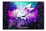 Unicorn Einhorn Pferd Horse Pony Pegasus SCHREIBTISCHUNTERLAGE SCHREIBUNTERLAGE TISCHUNTERLAGE UNTERLAGE mit Einschubfach 60 x 40 cm inklusive Sticker-von-Kids4shop