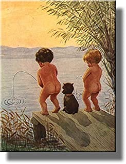 Boys by The Lake Distance Record Toilet Bathroom Picture Made on Stretched Canvas, Wall Art Decor Ready to Hang. (14