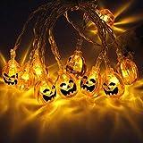 LEDストリングライトは、DIYホームアウトドアパーティーのためにハロウィーンの装飾カボチャ/ゴースト/スパイダー/スカルLEDクリスマスライトランタンランプをぶら下げ (Color : White, Size : 6 m 40 lights, Style : Pumpkin)