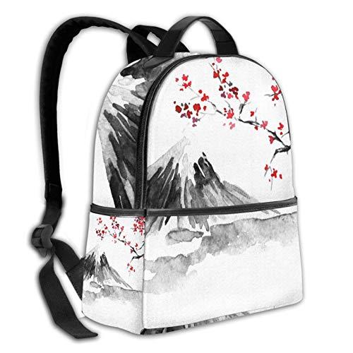 Teery-YY Japón Pintura tradicional Fuji Mountain Sakura Sunset Sun Ink Mochila de ocio casual Daypacks bolsa de senderismo viaje mochila escolar escolar para mujeres niñas adolescentes