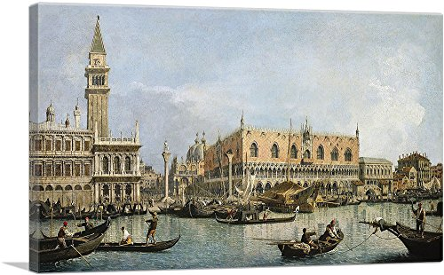 """ARTCANVAS The Molo and The Piazzetta San Marco - Venice Canvas Art Print by Canaletto - 40"""" x 26"""" (1.50"""" Deep)"""
