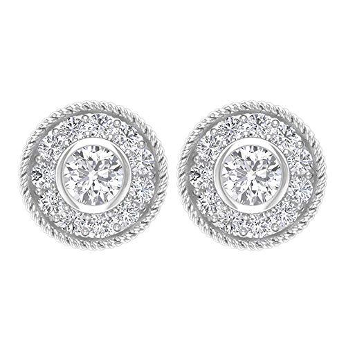 Pendientes de oro de 14 quilates con halo de diamante certificado de 1/4 quilates, antiguo grabado en espiral, estilo vintage, para novia, boda, cómodos tachuelas, tornillo hacia atrás