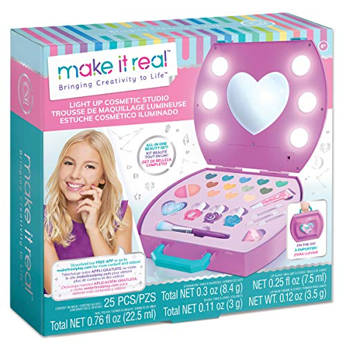 Make It Real - Light-Up Cosmetic Kit - Kids Makeup Case with Mirror and Lights for Girls and Tweens - Includes Eyeshadow, Nail Polish, Blush, Lip Gloss, Nail File, Makeup Brushes