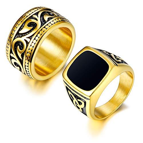 FINREZIO 2Pcs 18K Gold Plated Rings for Men Stainless Steel Vintage Biker Signet & Band Ring Set Size 7-13