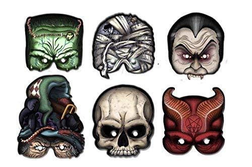 2351; Pak 6 monstermaskers; ideaal voor feesten en verjaardagen; kartonnen product; dracula Frankenstein; mama schedel; heks duivel