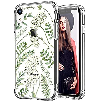 ICEDIO iPhone Xr Case with Screen Protector,Clear with Green Leaves Floral Flower Patterns for Girls Women,Shockproof Slim Fit TPU Cover Protective Phone Case for iPhone XR