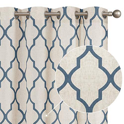 "jinchan Moroccan Tile Print Curtains for Living Room Quatrefoil Flax Linen Blend Textured Geometry Lattice Grommet Window Treatment Set for Bedroom 50"" W x 84"" L 2 Panels Blue"