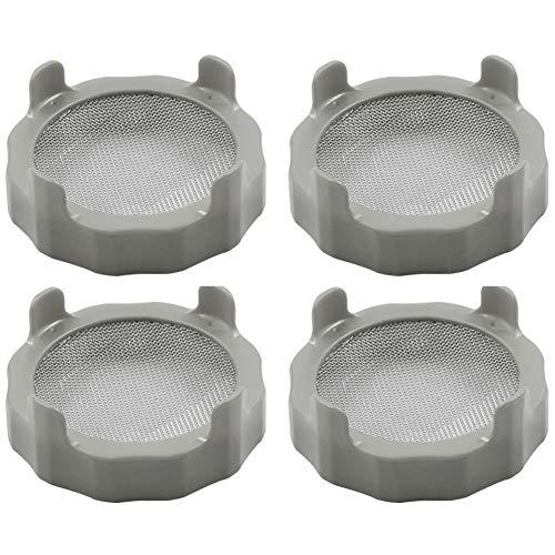Germinazione Box Mason Jar germinazione copertina Cavolo setaccio coperchi Mason Jar Fermentazione coperchi con acciaio inossidabile Mesh per Wide Mouth Mason Jars Grey 4pcs