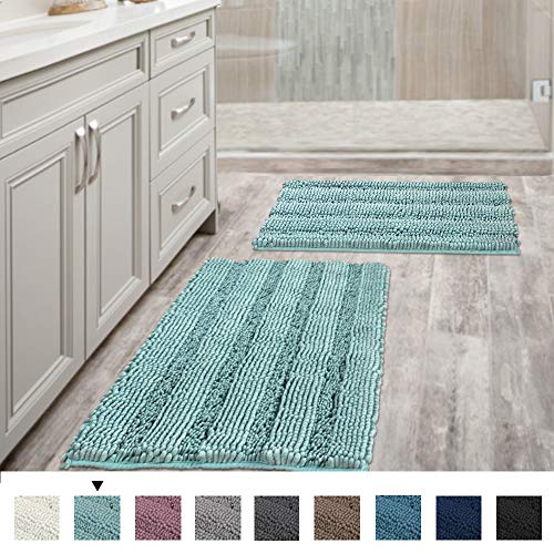"H.VERSAILTEX Non Slip Thick Shaggy Chenille Bathroom Rug Mat Extra Soft and Absorbent Striped Rug Machine-Washable (Set of 2-20"" x 32""/17"" x 24"") Duck Egg Shell Blue"