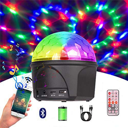 Wireless Portable Disco Ball Light with Bluetooth Speaker, Built-in Rechargable Battery Sound Actived Rotating DJ Strobe 16 Lights Modes for Party,Club,Karaoke,Wedding,Birthday and Kids-WISHWILL