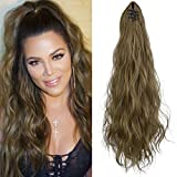 SEIKEA Ponytail Extension Claw Clip 16' 24' Long Wavy Curly Hair Extension Jaw Clip Ponytail Hairpiece Synthetic Pony Tail (24 Inch, Ash Blonde with Golden Blonde)