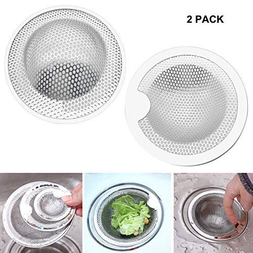 Fayomir Abflusssieb Edelstahl, 2 Stück Klein Abflusssiebe, Ideal für für Küchen Waschbecken, Sieb Dusche, Badewanne, Erhältlich in DREI Größen (Klein)