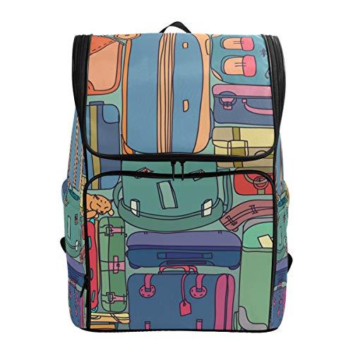 Fantazio Collection de valises de Voyage Vintage avec Autocollants pour Ordinateur Portable, Sac à Dos de Voyage, randonnée, Camping, décontracté, Grand Sac à Dos pour l'école