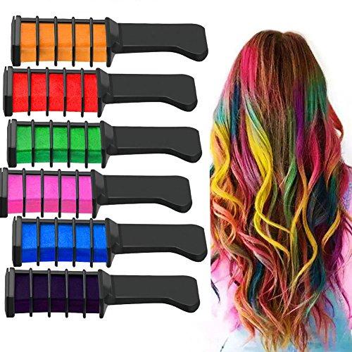 Richoose color tiza desechable instantáneo de larga duración tinte para el cabello cabello duradero Brillo de color crema para los fanáticos del partido DIY Cosplay 6PCS