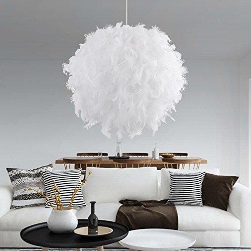 TIEMORE Colgante de pluma blanca para techos Tejido de pluma esponjosa para lámpara de mesa y piso, dormitorio, salón, decoración de boda o fiesta, diámetro 40 cm, blanco