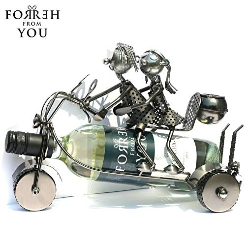 Lucy and Lee on a Motorbike Metal Wine Bottle Holder by For Her From You