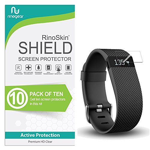 (10-Pack) RinoGear Compatible for Fitbit Charge/Charge HR Screen Protector Case Friendly Screen Protector for Compatible for Fitbit Charge/Charge HR Accessory Full Coverage Clear Film