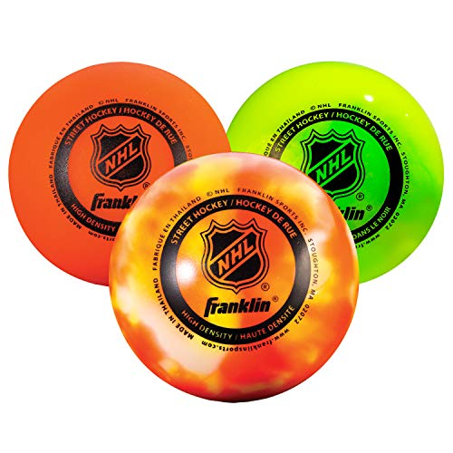 FRANKLIN - AGS Streethockey Gel Bälle NHL I Ball für Roller- & Inlinehockey I Outdoor Ball mit Active-Gravity-System I spezielle gedämpfte Flüssigkeit im Ballinneren I mittelhart I Orange - 3 Stück