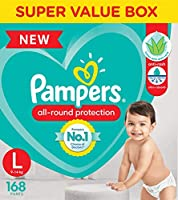 Pampers All round Protection Pants, Large size baby diapers (LG), 168 Count, Anti Rash diapers, Lotion with Aloe Vera