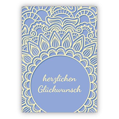 1 zarte Grußkarte/Geburtstagskarte mit Spitzen Motiv, hellblau: Herzlichen Glückwunsch • edle Gratulationskarte zum Geburtstag mit Umschlag für Freunde & Familie