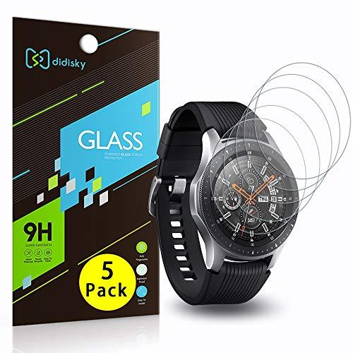 Didisky Vetro Temperato per Samsung Galaxy Watch 46mm, [ 5 Pezzi] Pellicola Protettiva [Tocco Morbido ] Facile da Pulire, Facile da installare, Trasparente