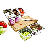 Extensible Bamboo Cutting Board Set with 4 Containers for Kitchen with Juice Groove, Eco-friendly Chopping and Serving Board for Meats Bread Fruits FDA Approved