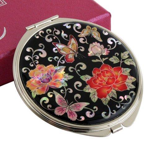 Miroir Compact Tirée de L'huître Perlière Maquillage Double Magnificador Peonias Fleurs Rouges