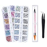 Pimoys 3940pcs Flat Back Gems, 6 Sizes 14 Colors Nail Crystals Clear Rhinestones and Art Rhinestones with Pick Up Tweezer and Rhinestone Picker Dotting Pen for Nails/Clothes/Face/Craft