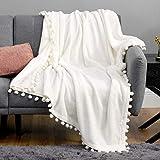 Bedsure Fleece Throw Blanket Pom Pom Blankets - Cream Throw Blanket for Couch - Cute Cozy Plush Throw Blanket (Cream , 50' x 60')