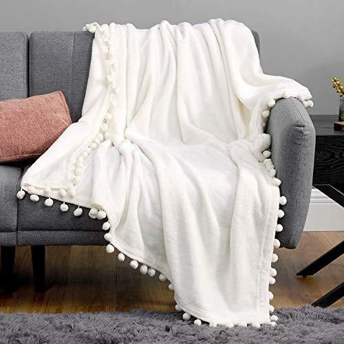Bedsure Fleece Throw Blanket Pom Pom Blankets - Cream Throw Blanket for Couch - Cute Cozy Plush...