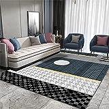Alfombras De Exterior Terraza Decoración Casa Alfombrillas Grandes para Dormitorio, fáciles de cuidar, para alfombras Infantiles, Negro, Gris Alfombra Gateo Bebe 160x200cm