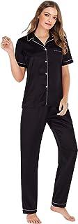 Pijama Dos Piezas Manga Corta Saten Pantalon y Camisero con Botones