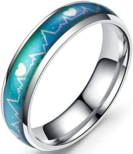 6mm Stainless Steel Color Changing Heart Shaped Mood Ring Wedding Band Cocktail Party Anniversary product image