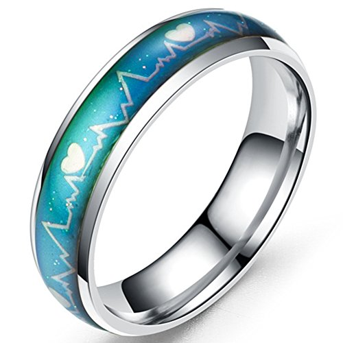 Jude Jewelers 6mm Stainless Steel Color Changing Heart Shaped Mood Ring Wedding Band Cocktail Party Anniversary Promise (Silver, 7)