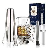 750 ml Kristall Mixingglas für Cocktailshaker Set - 13 Stück - mit Professionelles Boston Shaker, Dicker Boden Nahtloses Kristall Mischglas,Home Bar Rostfreier Stahl Werkzeugsatz
