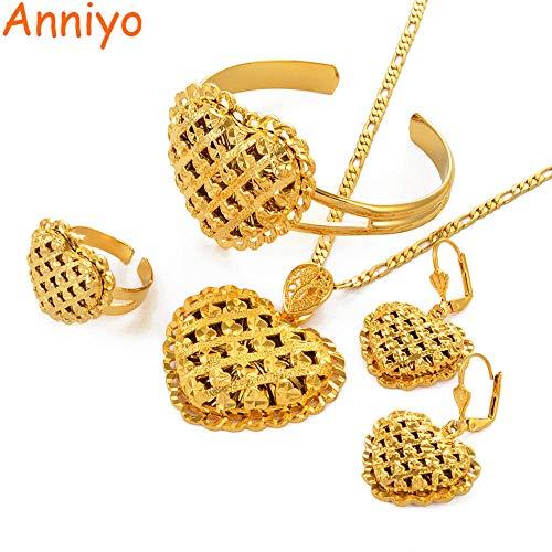 NCDFH African Heart Schmuck Sets Äthiopische Gold Farbe Hochzeit Halskette Ohrringe Armreif Ring Dubai Arabische Braut Schmuck Gold Größe Größe 45 cm x 3 mm Kette