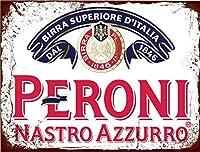 なまけ者雑貨屋 Peroni Nastro Azzurroメタルプレート アンティーク な ブリキ の 看板、レトロなヴィンテージ 金属ポスター 、20x30cm