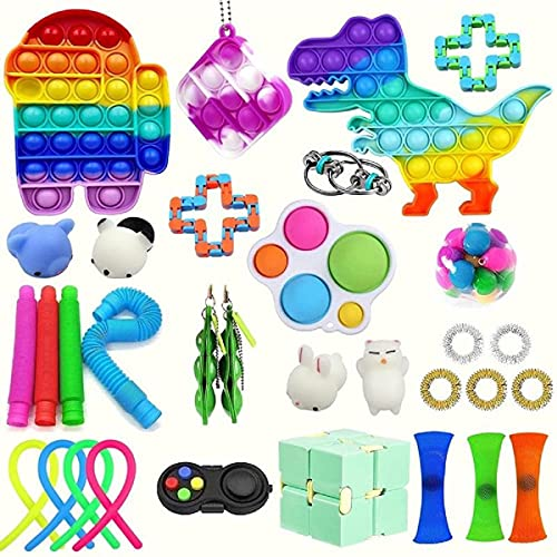 33PCS スクイーズ玩具 ストレス解消 減圧玩具 感覚ガジェットおもちゃセット, ストレス解消 水洗い可能,Stress Relief Fidget Toys 救済ハンドおもちゃ, 子供と大人のための救済ハンドおもちゃ 子供大人兼用
