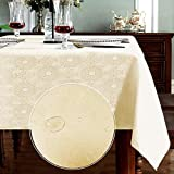 XINGMAO Jacquard demask Ivory Tablecloth 55'x78' Rectangle Jacquard Weave Spillproof Wrinkle Free Washable Fall Tablecloth Decorative Cover Holiday Parties Kitchen Dining