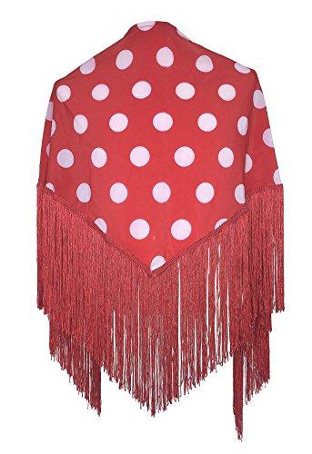 La Señorita Mantones bordados Flamenco Manton de Manila rojo puntos blanco