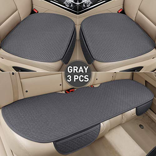 EifBrisa Car Front Seat Cushion Cover Pad Mat for Auto Supplies Office Chair Universal Anti-Slip, Natural Cotton Cloth Prevent Leather Seats from Against Winter Cold & Jeans Fading