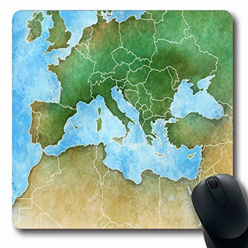 Mousepads Libanon Aquarell Frankreich Handdrawn Karte Mittelmeer Europa Spanien Afrika Mittlere Natur Algerien rutschfeste Gaming Mouse Pad Gummi längliche Matte
